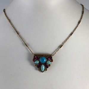 Jewelry - Necklace Slide Gold Tone Chain Rainbow of Color